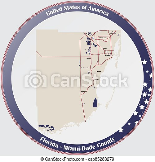 Map of Miami-Dade County in Florida - csp85283279