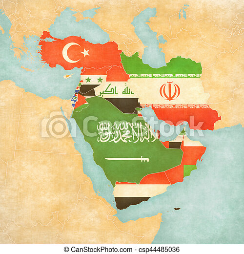 Map of middle east asia all countries flags of all map of middle east asia all countries stock illustration sciox Images