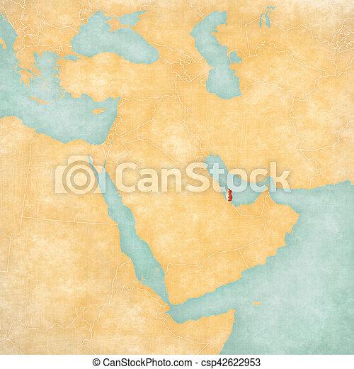Map of middle east - qatar. Qatar (qatari flag) on the map of middle Qatar Middle East Map on