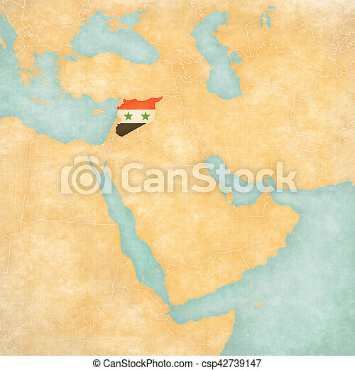 Map of middle east syria syria syrian flag on the map of middle map of middle east syria csp42739147 gumiabroncs Choice Image
