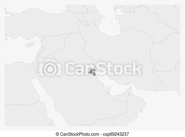 Map of Middle East with highlighted Kuwait map