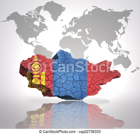 Map of mongolia with mongolian flag on a world map background map of mongolia csp22736333 gumiabroncs Gallery