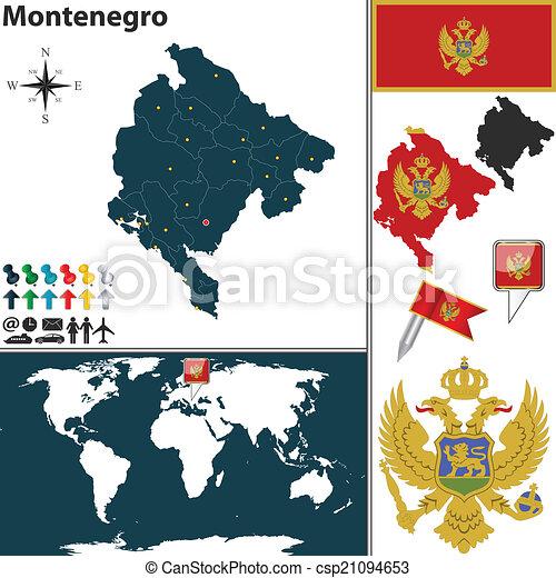 Map Of Montenegro Vector Map Of Montenegro With Regions Coat Of