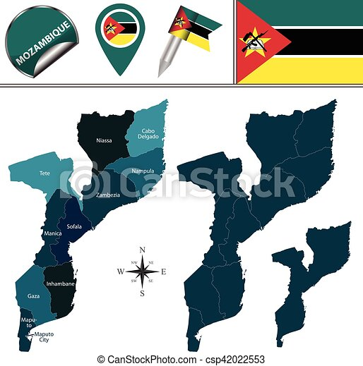 Vector map of mozambique with named provinces and travel clipart