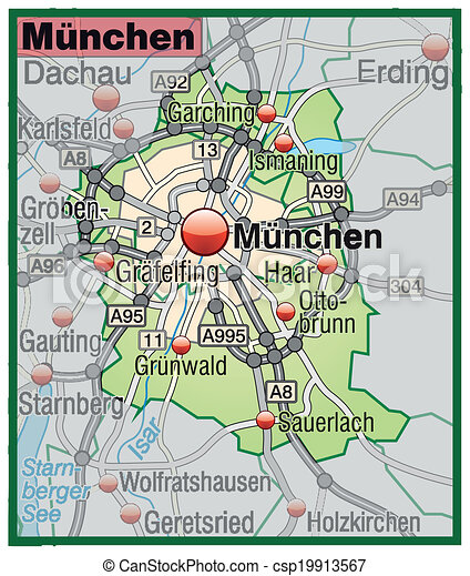 Map of munich with highways in pastel green clip art vector Search