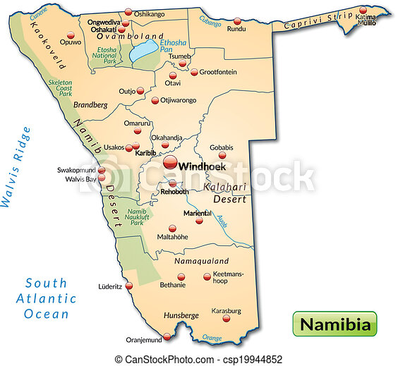 Map of namibia as an overview map in pastel orange clipart vector