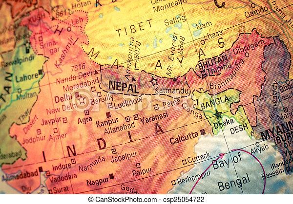 Map of nepal and bhutan closeup image Vintage map nepal stock