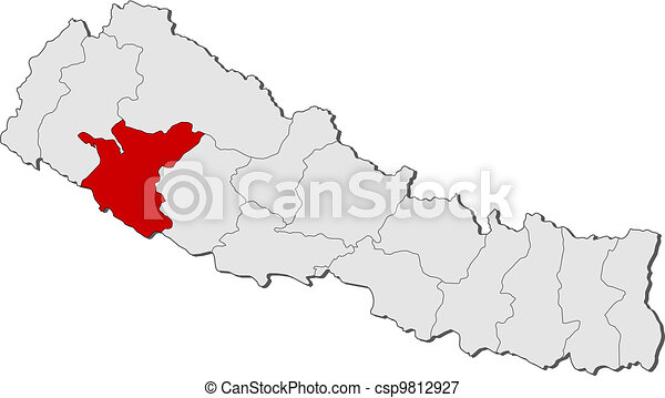 Map of Nepal, Bheri highlighted