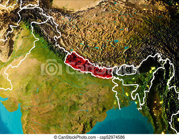 Map Of Nepal On Earth Nepal In The Morning Highlighted In - Nepal on map