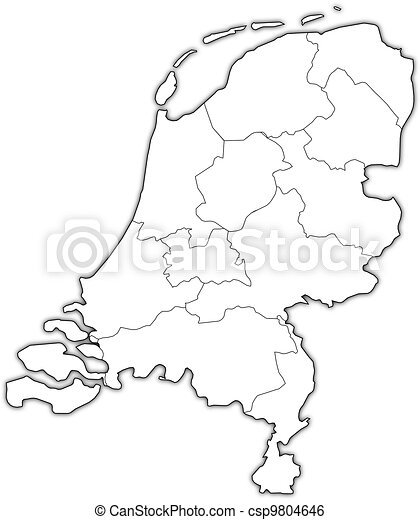 Clip Art Vector of Map of Netherlands Political map of