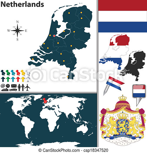 Map of netherlands vector map of netherlands with regions coat of map of netherlands csp18347520 gumiabroncs Images