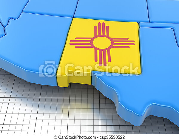 Map of New Mexico state with flag. - csp35530522