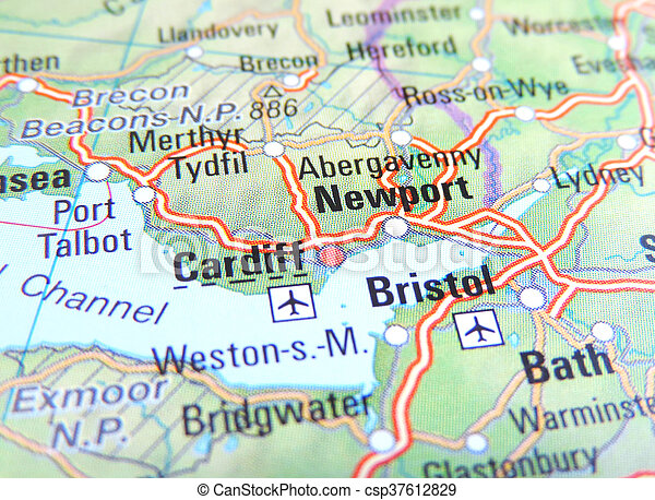Map of newport bristol and cardiff england stock photo Search