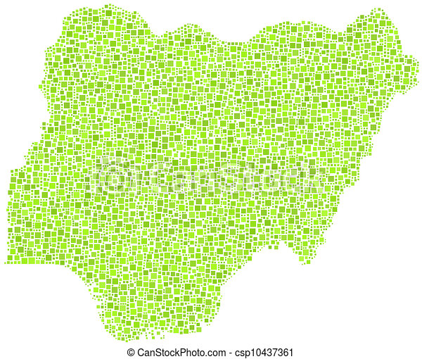 Map Of Nigeria Africa In A Mosaic Of Green Squares