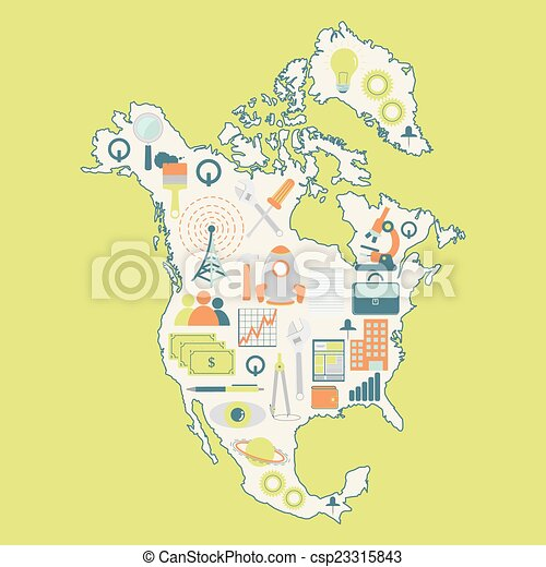 Map of north america with technolog. Contour map of north america ...