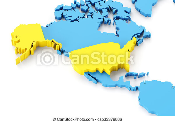 Map of north america with usa highlighted 3d render stock map of north america with usa highlighted stock illustration gumiabroncs Images