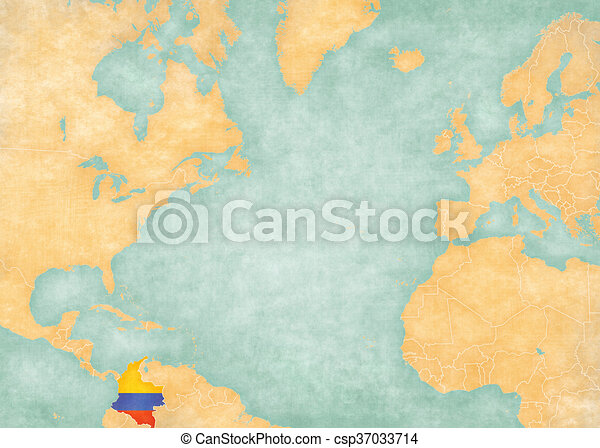 Map of North Atlantic - Colombia - csp37033714