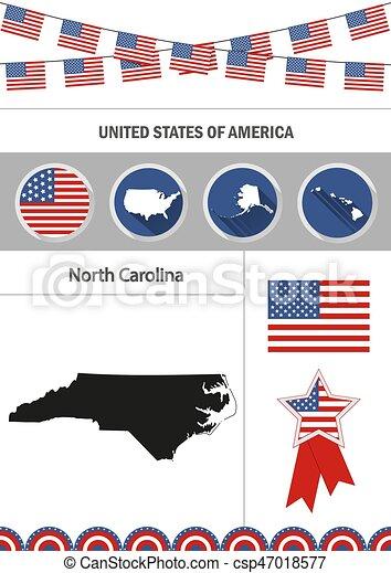 Map of North Carolina. Set of flat design icons nfographics elem - csp47018577