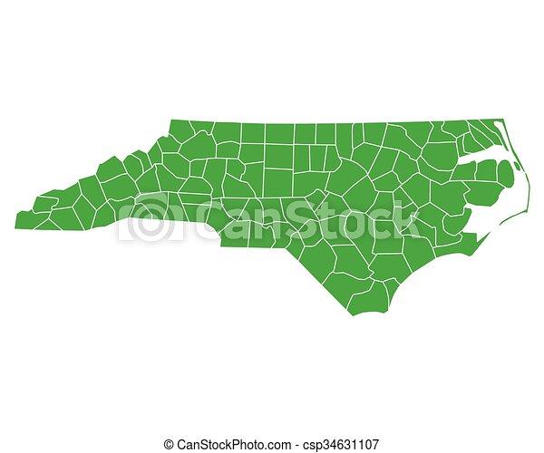 Map of North Carolina - csp34631107