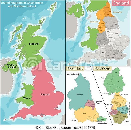 Map Of West Of England.Map Of North East And West England