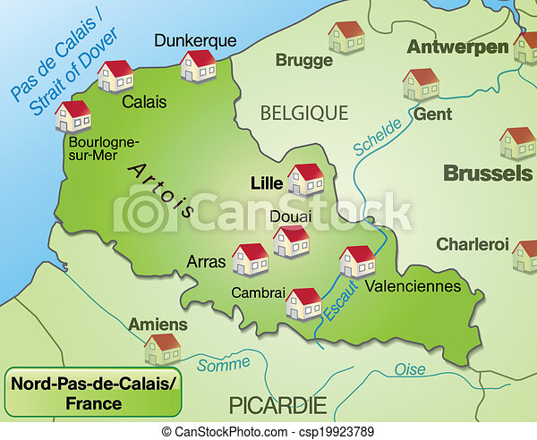 Map of northpasdecalais as an overview map in green vector