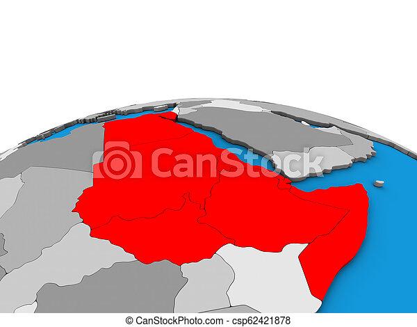 Map of Northeast Africa on 3D globe - csp62421878