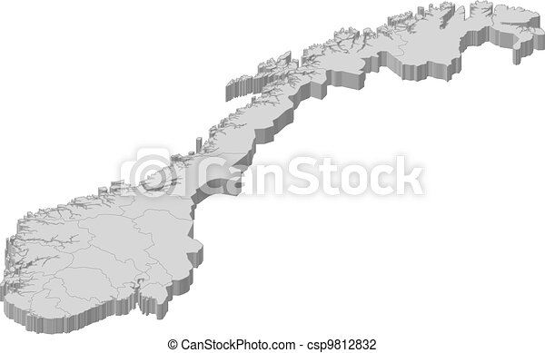 Vector Illustration Of Map Of Norway Political Map Of Norway - Norway map drawing