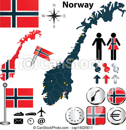 Vector Clip Art Of Map Of Norway Vector Of Norway Set With - Norway map drawing