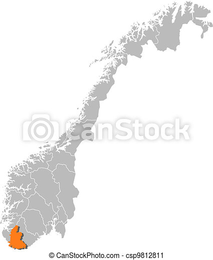 Map of Norway, Vest-Agder highlighted - csp9812811