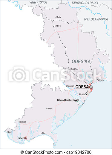 Map Of Odessa Oblast With Major Cities And Roads