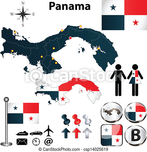 Map Of Panama Vector Of Panama Set With Detailed Country - Panama map vector