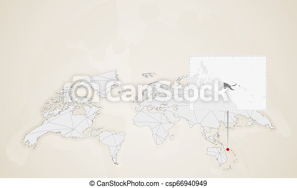 Map of papua new guinea with neighbor countries pinned on world map ...