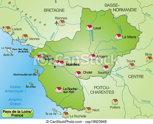 Map of pays de la loire as an overview map in green eps vector