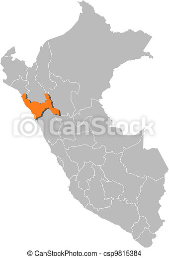 Map Of Peru La Libertad Highlighted Political Map Of Peru With The