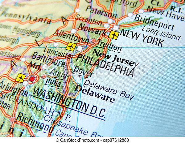 Map Of Philadelphia And New York Usa