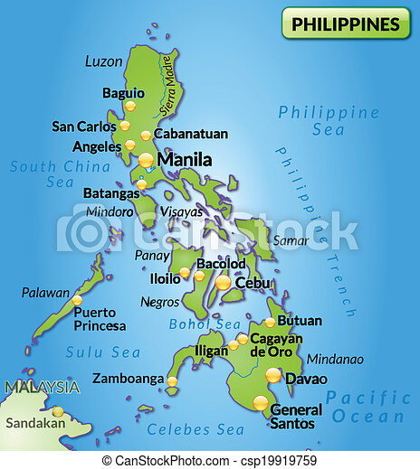 Map Of Philippines As An Overview Map In Green Clipart Vector - Map philippines