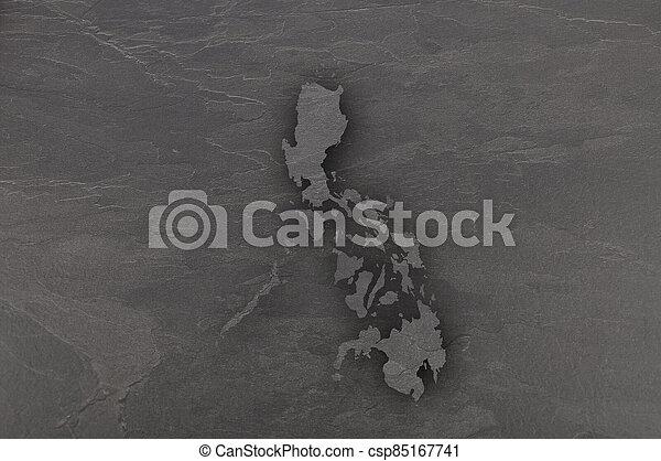 Map of Philippines on dark slate - csp85167741