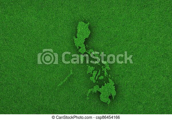 Map of Philippines on green felt - csp86454166