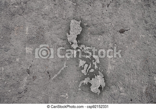 Map of Philippines on weathered concrete - csp92152331