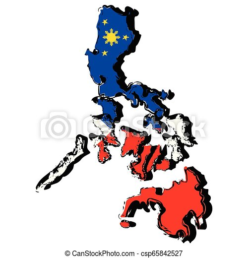 Map of Philippines with flag - csp65842527