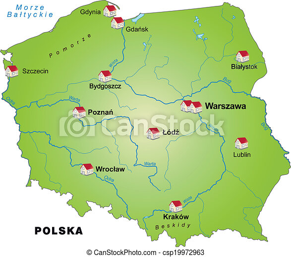 Map of poland as an infographic in green clip art vector Search