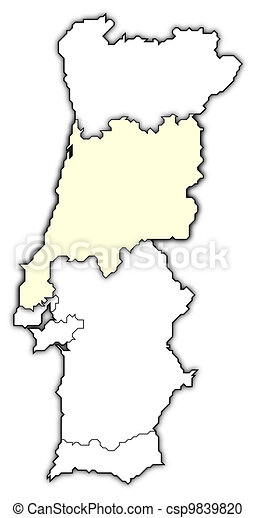 Map Of Portugal Centro Region Highlighted Political Map Of