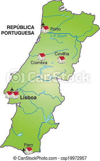 Map Of Portugal As An Infographic In Green