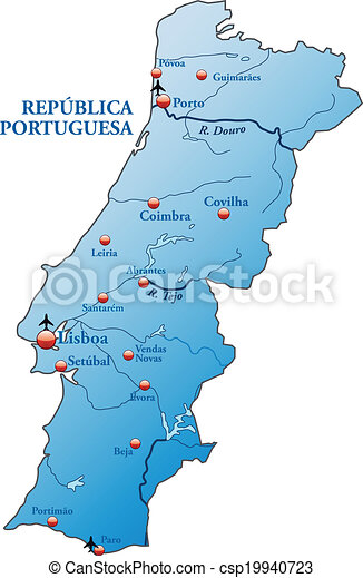 Map Of Portugal As An Overview Map In Blue