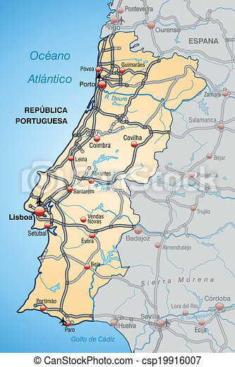 Map Of Portugal With Highways In Pastel Orange