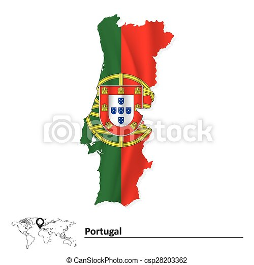 Map of Portugal with flag - csp28203362