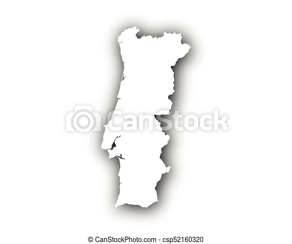 Map of Portugal with shadow - csp52160320