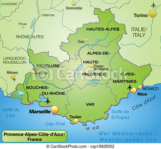Map of provence-alpes-cote d azur with borders in green.