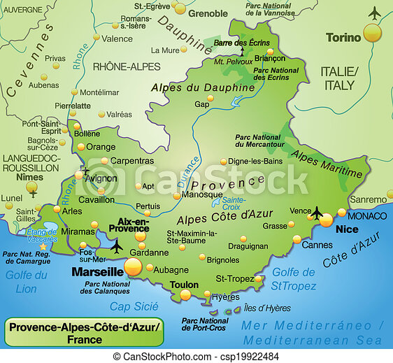 provence karta Map of provence alpes cote d azur as an overview map in green. provence karta
