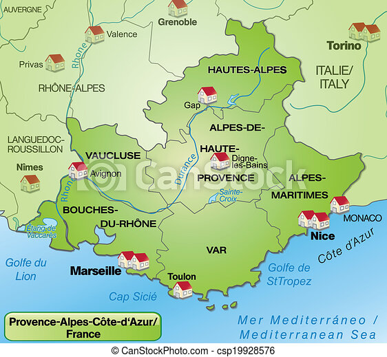 provence karta Map of provence alpes cote d azur with borders in green. provence karta